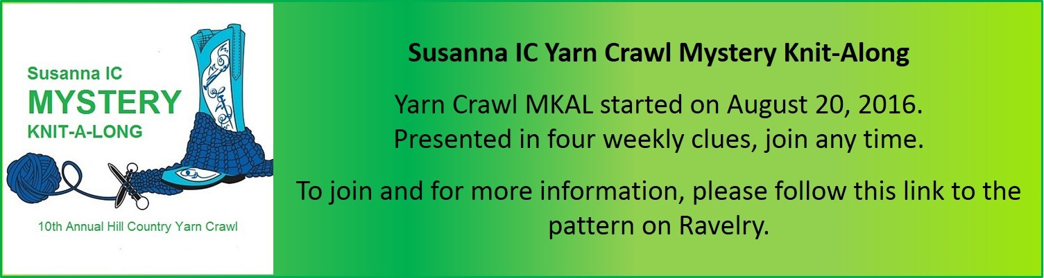 Yarn Crawl Mystery Knit-A-Long by Susanna IC, photo © Susanna IC, Yarn Crawl MKAL will be presented in four weekly clues