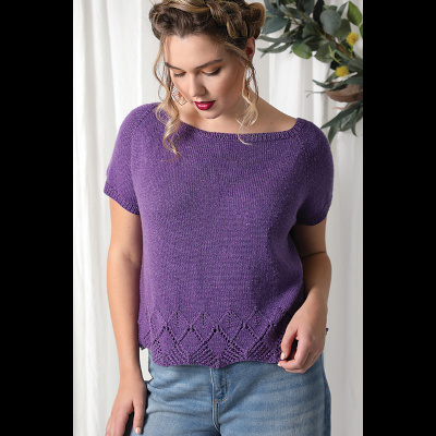 Daydreamer Tee by Susanna IC, Published in Interweave Knits, Spring 2021, photo © Interweave