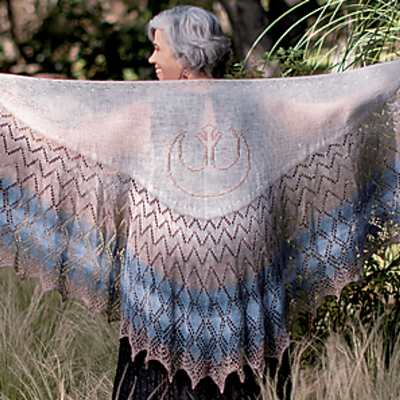 Rebel Alliance Shawl by Susanna IC, Star Wars Knitting the Galaxy: The Official Star Wars Knitting Pattern Book, January 2021, photo © Insight Editions