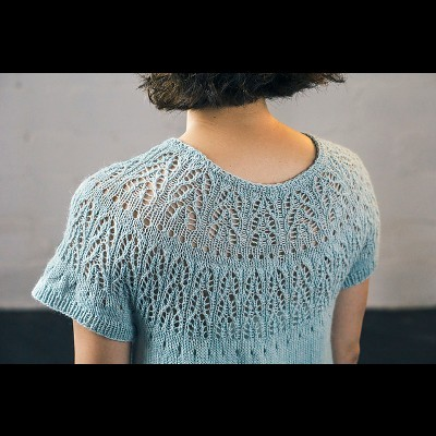 Cascadas Tee by Susanna IC, designed for Manos del Uruguay, featuring Manos del Uruguay's yarn, photo © Fairmount Fibers, Ltd.